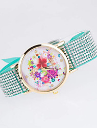 Women's  Genev Diamond Flower Cloth Belt Watch Cool Watches Unique Watches