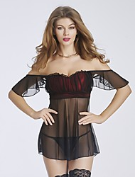 YUIYE® New Women Black Sexy Lingerie Lace Bustier Babydoll & Slips Nightwear Plus Size S-2XL