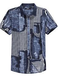 Sieben Brand® Herren Hemdkragen Kurze Ärmel Shirt & Bluse Blau-704A356651