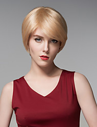 Short Straight Fashion Hair Natural  Wig Remy Hand Tied-Top Capless Hair Wigs