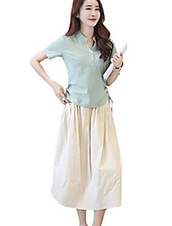 Women's Going out Boho / Punk & Gothic Two Piece Dress,Solid Stand Midi Short Sleeve Pink / Gray / Green / Orange Cotton / Linen Summer
