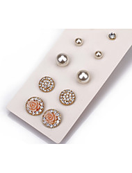 Stud Earrings Pearl Crystal Imitation Pearl Alloy Fashion White Jewelry Wedding Party Daily Casual 1set