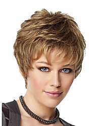 8inch Women Short Curly Fluffy Synthetic Hair Wigs Side Bang Blonde with Free Hair Net