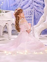 Японский стиль Длинный рукав Длинный Розовый Спандекс / Полиэстер Лолита платье