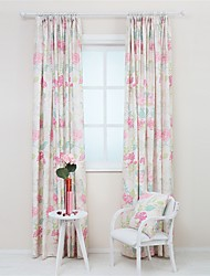 Two Panels Designer Floral Pattern Living Room Polyester Panel Curtains Drapes
