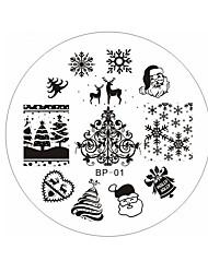 Рождество Санта снег олень маникюр плиты печатание