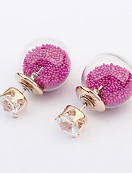 Cute Colorful Round Ball Alloy Pierced Stud Earrings Women Fashion Accessories
