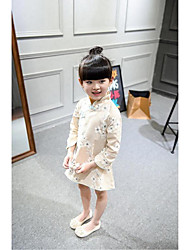 Kid Princess Series Costumes Long Sleeve Cute and Cuddly Costumes Dress Cheongsam Yellow
