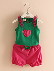 Children's Clothing 2016 New Summer Girls Love Flower Bow Vest Short Skirt Set Kids Clothes Suit