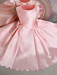 Ball Gown Knee-length Flower Girl Dress-Satin Sleeveless