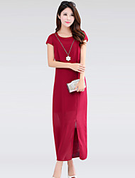 Women's Simple / Street chic Solid Plus Size / Chiffon Dress,Round Neck Maxi Cotton / Polyester