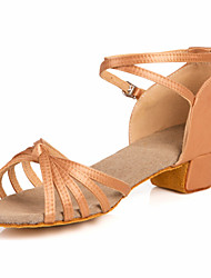 "Women's Kids' Latin Ballroom Satin Sandal Low Heel Nude Bronze 1"" - 1 3/4"" Non Customizable"