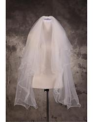 Wedding Veil Three-tier Elbow Veils Cut Edge Pencil Edge Tulle Beige