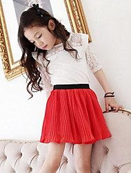 7 Minutes Of Sleeve Summer Cotton Similar Splicing T-shirt Chiffon Skirt 2 Sets Of The Girls