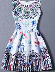 Women's Cute Print A Line Dress,Round Neck Mini Polyester