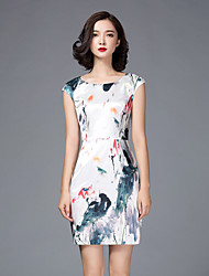 LIFVER® Women's Round Neck Sleeveless Ink Printing Bodycon Dress(white) - XZ52104