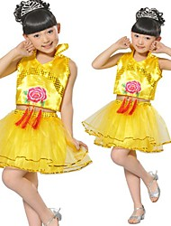 Performance Outfits Children's Performance Sequined Sequins 2 Pieces Sleeveless Skirt / TopXS:28cm(100-110cm) S:29cm(110-120cm)