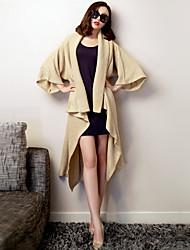 VERRAGEE® Damen V-Ausschnitt Lange Ärmel Pullover & Cardigan Weiß-K013
