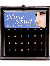 24PCS 1.8mm 316L Stainless Steel Nose Rings & Studs Nose Piercing Ring Body Jewelry (1 Box)