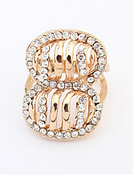 Exaggerated Fashion Diamond Ring Gilt