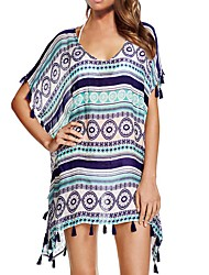 Women's Bandeau Cover-Up,Tassels / Boho Polyester Purple