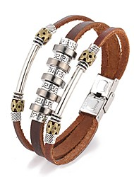 Punk Style Beads Vintage PU Leather Bracelet Leather Bracelets Wrap Bracelets Daily / Casual 1pc Jewelry Christmas Gifts