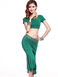 Belly Dance Outfits Women's Training Modal Draped 2 Pieces Black / Hunter Green / Burgundy / Light Gray Belly Dance Short Sleeve Natural