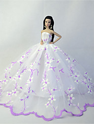 Wedding Costumes For Barbie Doll Light Purple / White Dresses