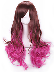 Brown Rose Red Long Curly Hair Wigs Pelucas Lolita Wigs Rainbow Synthetic Wigs Perruque Femme Anime Ombre Cosplay Wigs