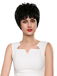 Youthful Woman 's oblique bangs short Hair Human Hair Hand Tied - Top wigs