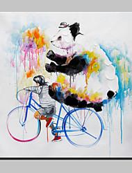 mão grande pintura a óleo lona pintada menino abstrato animal moderno e panda, com quadro esticado pronto para pendurar