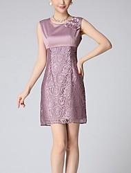 Gaine Robe Femme Soirée / CocktailFleur / Jacquard Col Arrondi Au dessus du genou Sans Manches Violet Polyester Eté Taille Normale