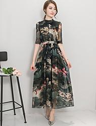 De las mujeres Corte Swing Vestido Vintage Estampado Maxi Escote Chino Poliéster