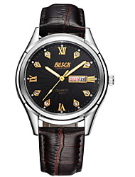 Men's Fashion Watch Calendar Solar Casual Watch Ecology-Drive Leather Band Luxury Brown
