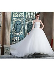 Ball Gown Wedding Dress Chapel Train Strapless Satin with Appliques
