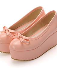 Zapatos de mujer-Plataforma-Plataforma / Confort-Tacones-Oficina y Trabajo / Vestido / Casual-Cuero Patentado-Negro / Rosa / Rojo