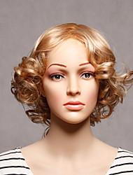 capless sintéticos louro ondulado mulheres sintéticas perucas curtas
