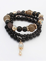Bracelet/Charm Bracelets / Strand Bracelets Alloy / Rhinestone / Glass Wedding / Party / Daily / Casual Jewelry GiftLight Blue / Black /