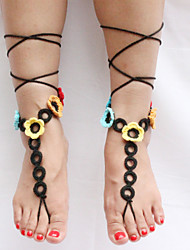 Women's Handmade Crochet Cotton Sandals Circles Flowers Chain Anklet Barefoot Sandals