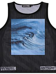 Men's Sleeveless Tank Tops,Polyester Casual / Work / Sport / Plus Sizes Print