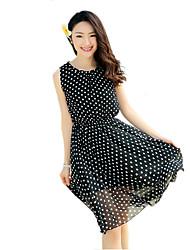 2016 Summer Women's Bohemian Beach Polka Dot Print Dress