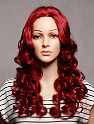 Capless Long Synthetic Red Color Wavy Synthetic Womens Wigs