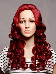 capless longa sintética cor vermelha ondulada mulheres sintéticas perucas