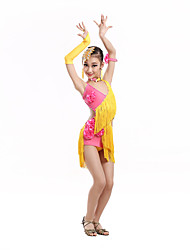 Latin Dance Dresses Children's Performance Spandex Tassel(s) Flowers Kid's V Neck Dance Costumes with Earrings