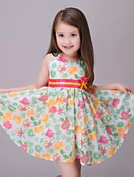 Girl's Green / Red / Yellow Dress,Floral Rayon Summer / Spring / Fall