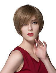 Simple Straight Human Virgin Remy Hand Tied-Top Capless Hair Wigs for Woman