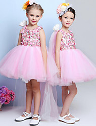 A-line Short / Mini Flower Girl Dress - Chiffon Lace Scoop with Flower(s)