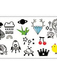 Fashion Temporary Tattoos Cartoons Sexy Body Art Waterproof Tattoo Stickers 5PCS (Size: 2.36'' by 4.13'')