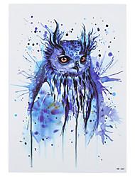 8PCS Mysterious Blue Owl Pattern Drawing Design Tattoo Fake Waterproof Temporary Women Men Body Back Art Tattoo Sticker