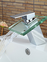 Contemporary Chrome Glass Waterfall Bathroom Basin Faucet